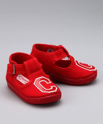 Cienta Red 'C' T-Strap Shoe