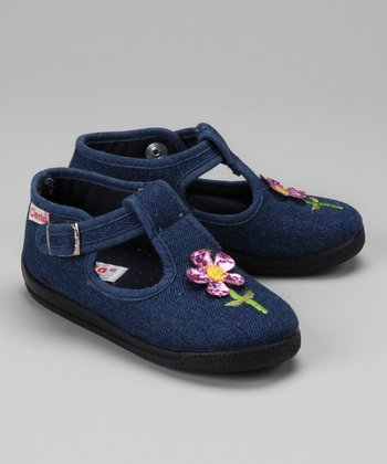 Denim Flower T-Strap Shoe