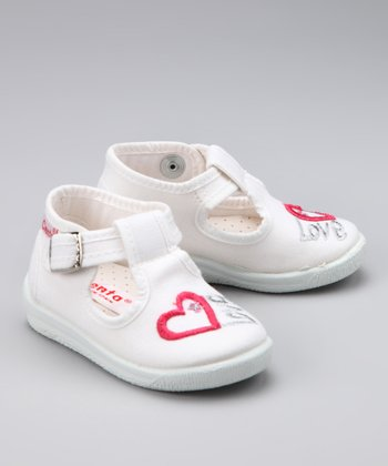 White Heart T-Strap Shoe