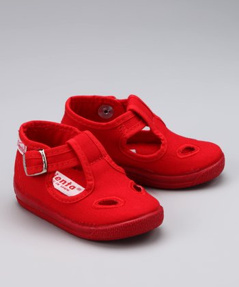Red Cutout T-Strap Shoe