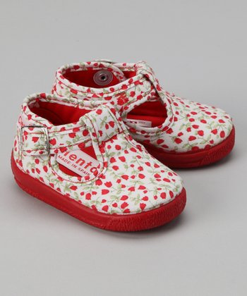 Red Flower T-Strap Shoe