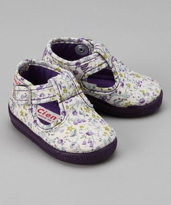 Cienta Purple Floral T-Strap Shoe