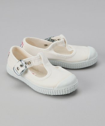 White Buckle T-Strap Shoe