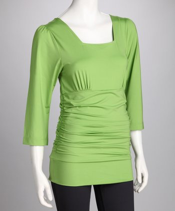 Green Blissful Postpartum Square Neck Top - Petite & Women