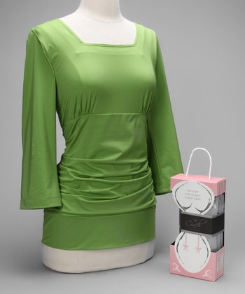 Green Blissful Postpartum Shirt & Cool Gray Signature Cinch