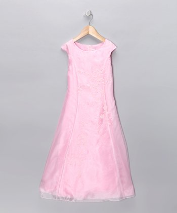 Pink Cap-Sleeve A-Line Dress - Girls