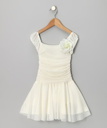 Ivory Ruched Cap-Sleeve Dress - Girls
