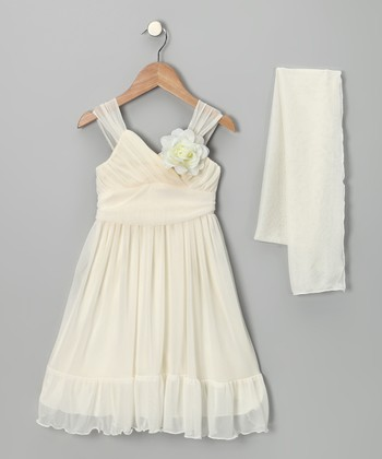 Ivory Flower Babydoll Dress & Shawl - Toddler & Girls