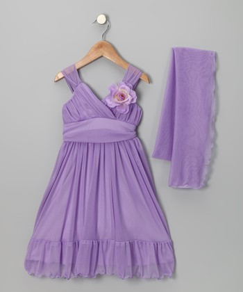 Lavender Flower Babydoll Dress & Shawl - Toddler & Girls