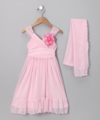 Pink Flower Babydoll Dress & Shawl - Toddler & Girls
