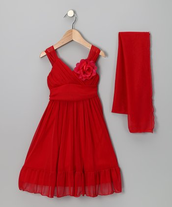 Red Flower Babydoll Dress & Shawl - Toddler & Girls