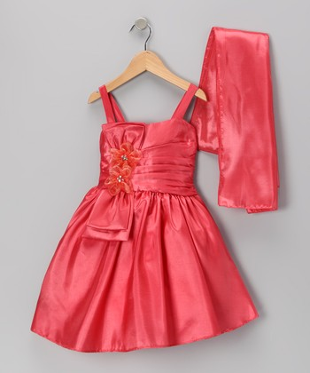Coral Flower Satin Dress & Shawl - Toddler