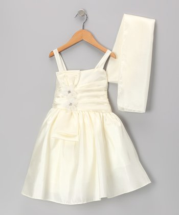 Ivory Flower Satin Dress & Shawl - Toddler & Girls