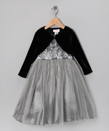 Silver Rosette Garden Dress & Velvet Bolero - Toddler & Girls