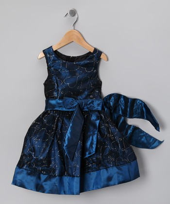 Teal Blue Glitter Heart Bow Dress - Toddler & Girls