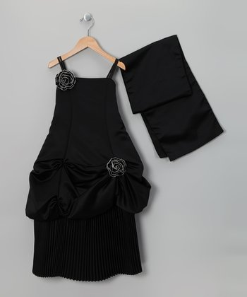 Black Pickup Dress & Shawl - Toddler & Girls