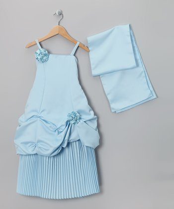 Blue Pickup Dress & Shawl - Toddler & Girls