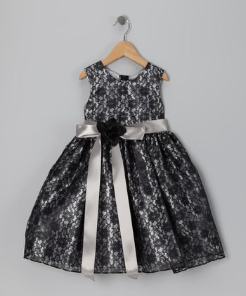 Black & Silver Floral Lace Dress - Infant, Toddler & Girls