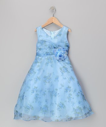 Blue Floral A-Line Dress - Girls