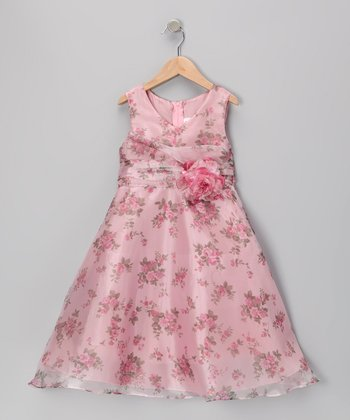 Dusty Rose Floral A-Line Dress - Toddler & Girls