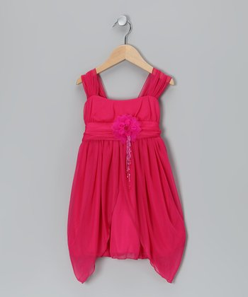 Fuchsia Flower Sidetail Dress - Toddler & Girls
