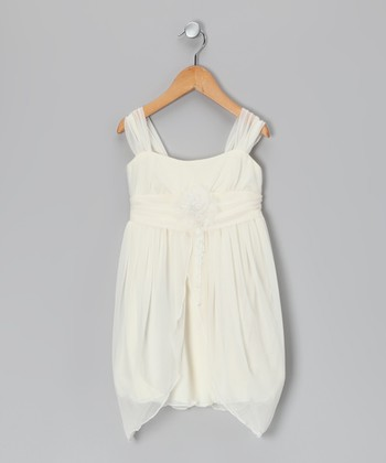 Ivory Flower Sidetail Dress - Girls