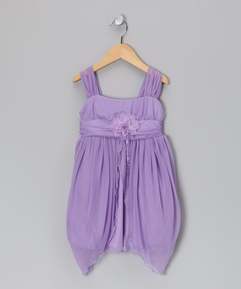 Lilac Flower Sidetail Dress - Girls