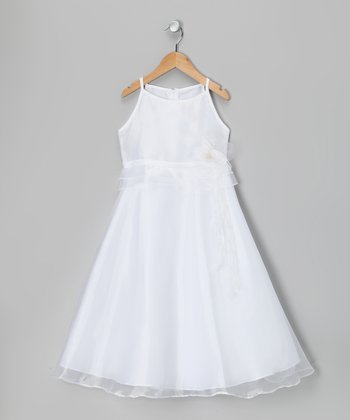 White Satin A-Line Dress - Girls