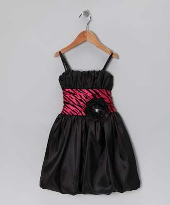 Black & Fuchsia Zebra Bubble Dress - Toddler & Girls
