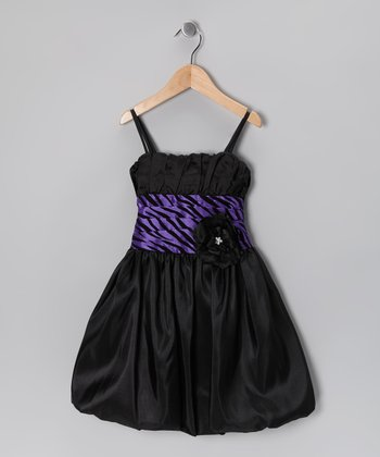 Black & Purple Zebra Bubble Dress - Toddler & Girls