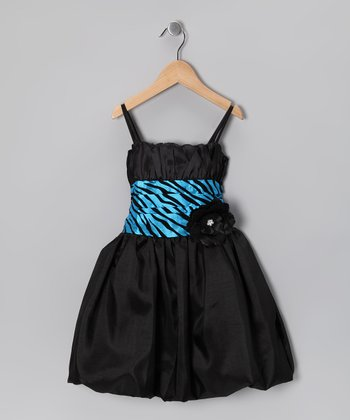 Black & Turquoise Zebra Bubble Dress - Toddler & Girls