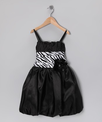 Black & White Zebra Bubble Dress - Toddler & Girls