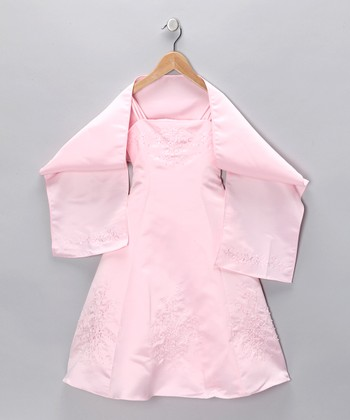 Pink Beaded Satin Dress & Shawl - Toddler & Girls