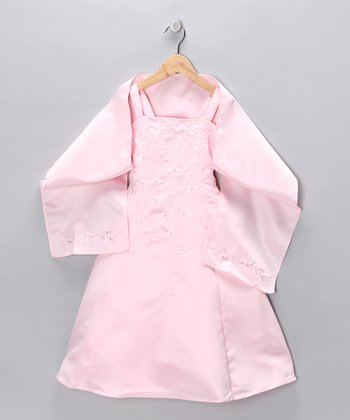 Light Pink Beaded Dress & Shawl - Toddler & Girls