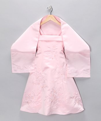 Pink Floral Embroidered Dress & Shawl - Toddler & Girls