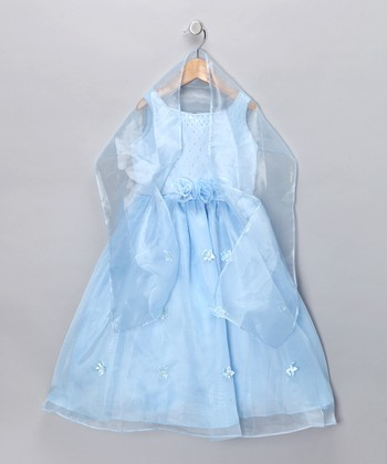 Blue Rosette Dress & Shawl - Girls