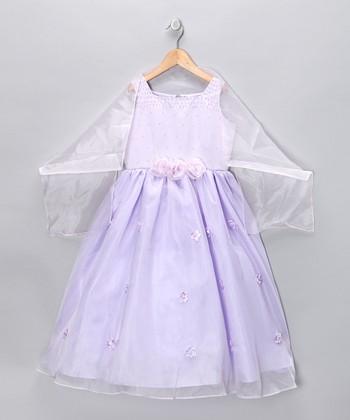 Cinderella Couture Lilac Rosette Dress & Shawl - Girls