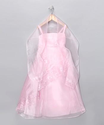Cinderella Couture Pink Floral Dress & Shawl - Girls