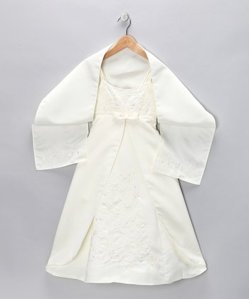 Cinderella Couture Ivory Pleated Dress & Shawl - Girls