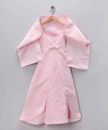 Cinderella Couture Light Pink Pleated Dress & Shawl - Girls