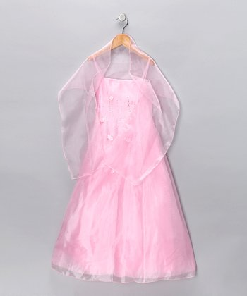 Pink Rhinestone A-Line Dress & Shawl - Girls
