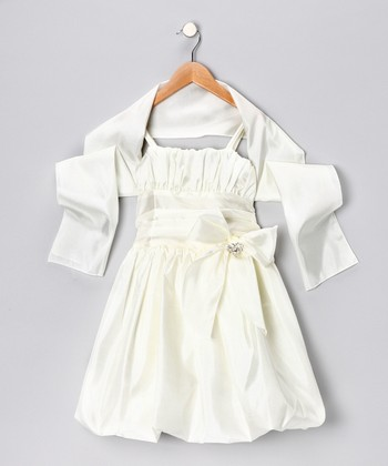 Cream Bow Bubble Dress & Shawl - Toddler & Girls