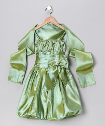 Sage Bow Bubble Dress & Shawl - Toddler