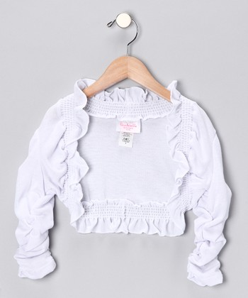 White Ruffle Bolero - Girls