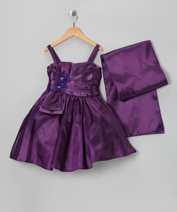 Purple Flower Satin Dress & Shawl - Toddler & Girls