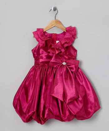 Fuchsia Bow Bubble Dress - Toddler & Girls