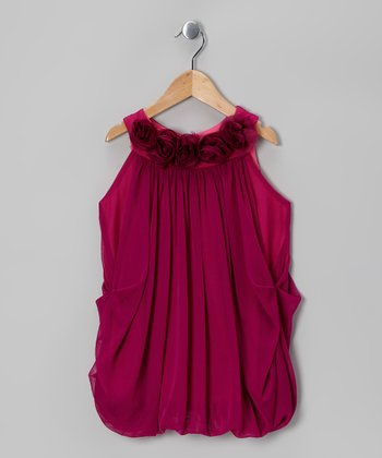 Fuchsia Rosette Bubble Dress - Girls