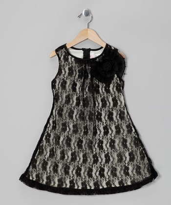 Black Floral Lace Shift Dress - Toddler & Girls