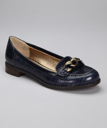 Navy Crocodile Loafer