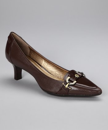 Brown Reptile Prvue Kitten Heel